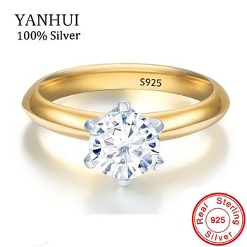 bde2764bb7c3 YANHUI Original 925 Plata Color oro anillo de boda regalo solitario 5mm  0