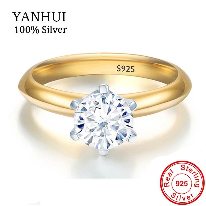 YANHUI Original 925 Plata Color oro anillo de boda regalo solitario 5mm 0,75 quilates CZ diamante anillos de compromiso para mujeres NJZ040