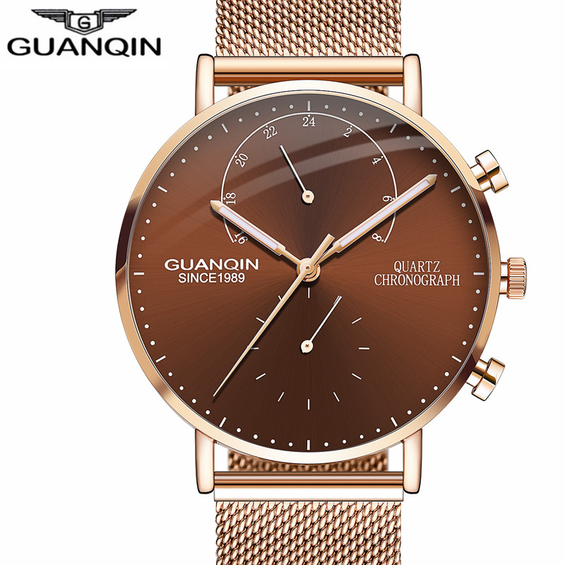 GUANQIN Brand Luxury Watches Men Business Casual Chronograph Clock Leather Strap Quartz Watch Mens Fashion Creative Wristwatch стоимость