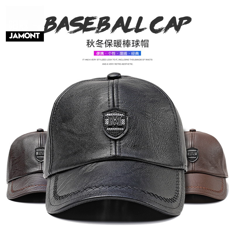 abaf5ee07cd JAMONT Men Baseball Cap Autumn Winter Snapback Hat High Quality Fashion PU Leather  Warm Hats Male
