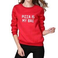 2017 Winter Thick Moletom Kawaii Sweatshirt Harajuku Hoodie Women Pizza is my bae Letters Printed Sudaderas Mujer