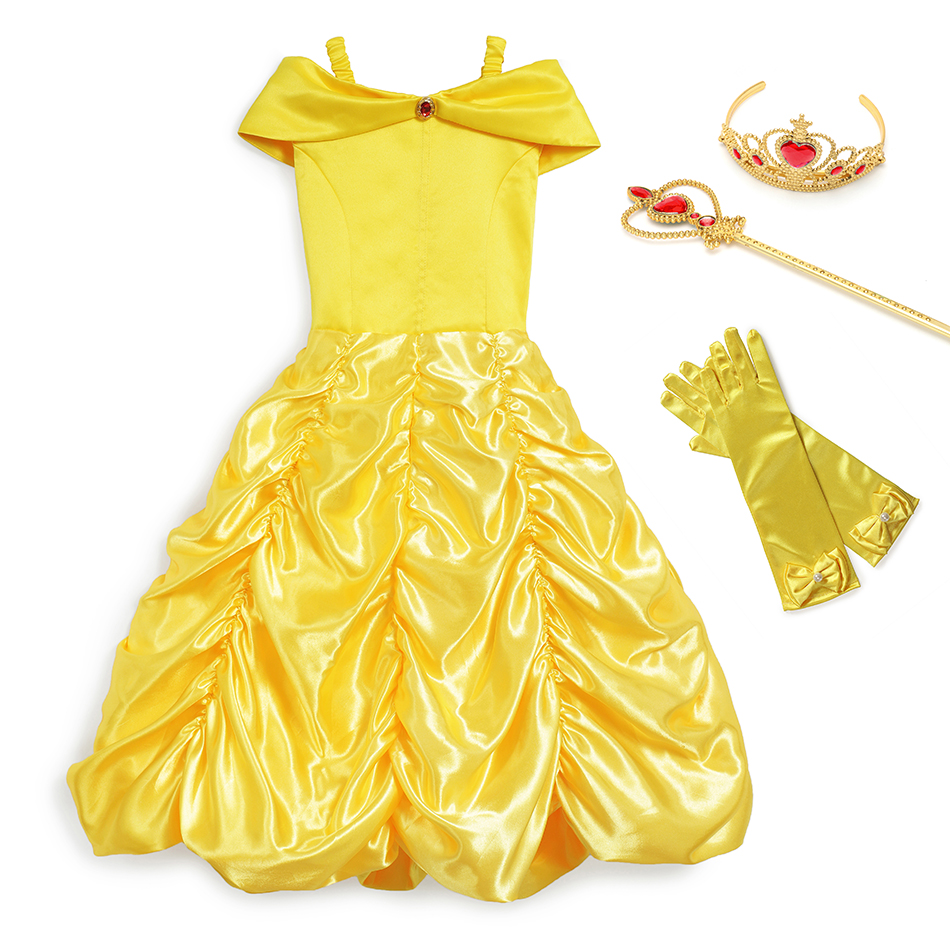 YOFEEL Belle Princess Cosplay Girls Yellow Costume Sleeveless Beauty And The Beast Party Birthday Halloween Christmas Cute Dress