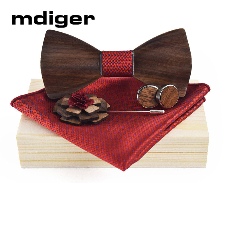 Mdiger Wooden Bow Ties Cufflinks Handkerchiefs Tie Clip Best Gift Set For Men Tie Shirt Wedding Jewelry a set of deep tartan pattern tie pocket square bow tie