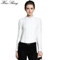 Hua Shang 2017 Fashion Autumn And Winter Women Long Sleeve White Lace Blouse Elegant Peter Pan