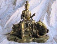 Reiner messing tibet buddhismus buddha Avalokitesvara manjusri auf ein elefant statue-in Statuen & Skulpturen aus Heim und Garten bei