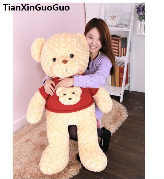 stuffed fillings toy large 100cm light brown Teddy bear plush toy red sweater bear soft doll hugging pillow birthday gift s0647 cute animal soft stuffed plush toys purple bear soft plush toy birthday gift large bear stuffed dolls valentine day gift 70c0074