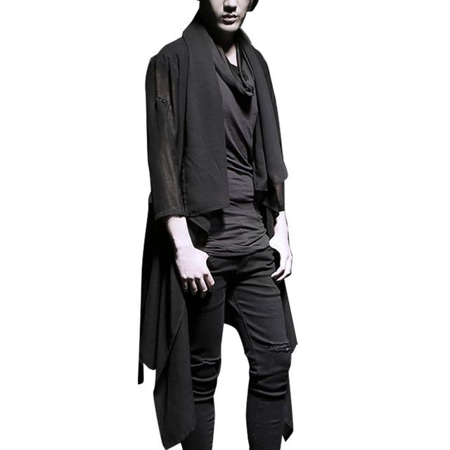 Masculina primavera verano desfile de moda de la chaqueta de protección solar chal chaqueta de punto de los hombres punk trench coat K658