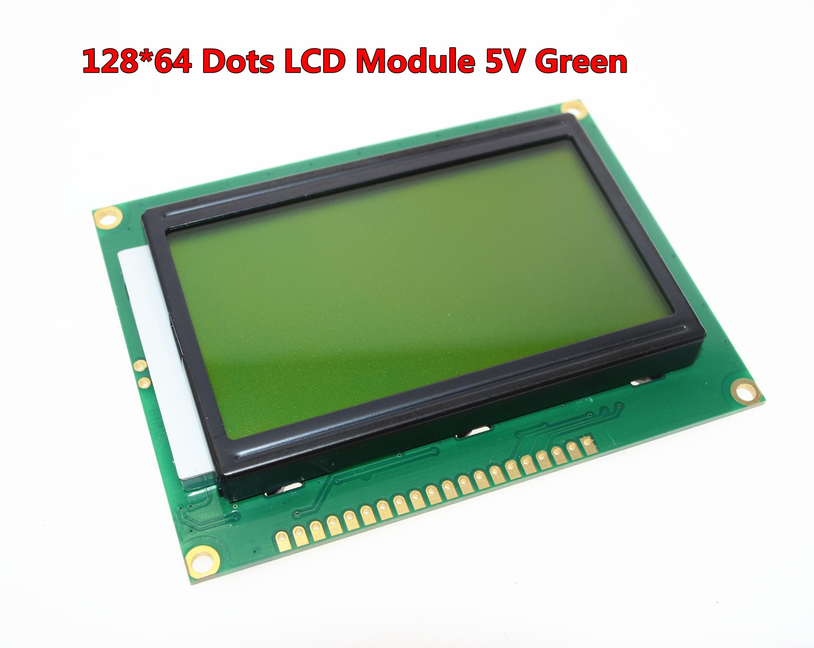 Frete grátis 12864 128x64 pontos gráfico cor verde backlight display lcd módulo para arduino raspberry pi