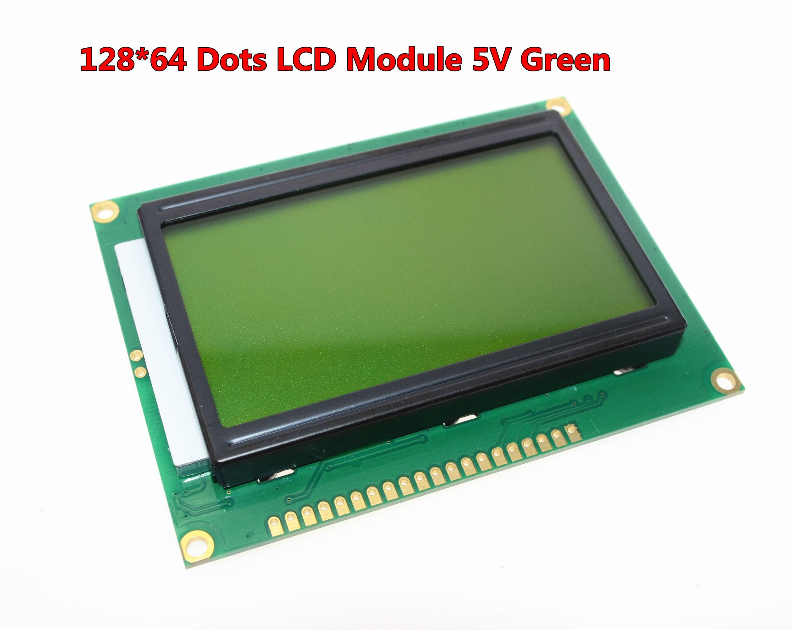 O envio gratuito de 12864 128x64 Pontos Gráfico Cor Verde Backlight LCD Display Module para arduino raspberry pi