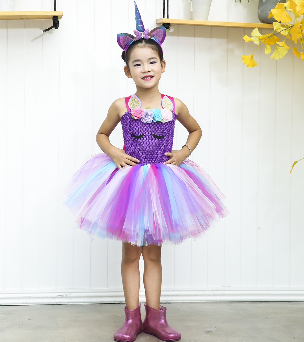a9881c727 Purple Pastel Unicorn Costume Halloween Fancy Girls Tutu Dress ...