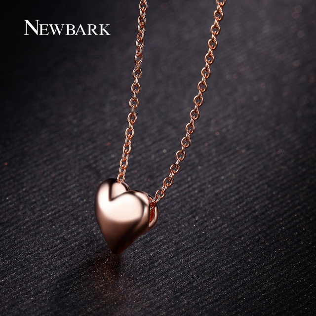Simple Classy Small Rose Gold Plated Heart Shaped Pendant Necklace