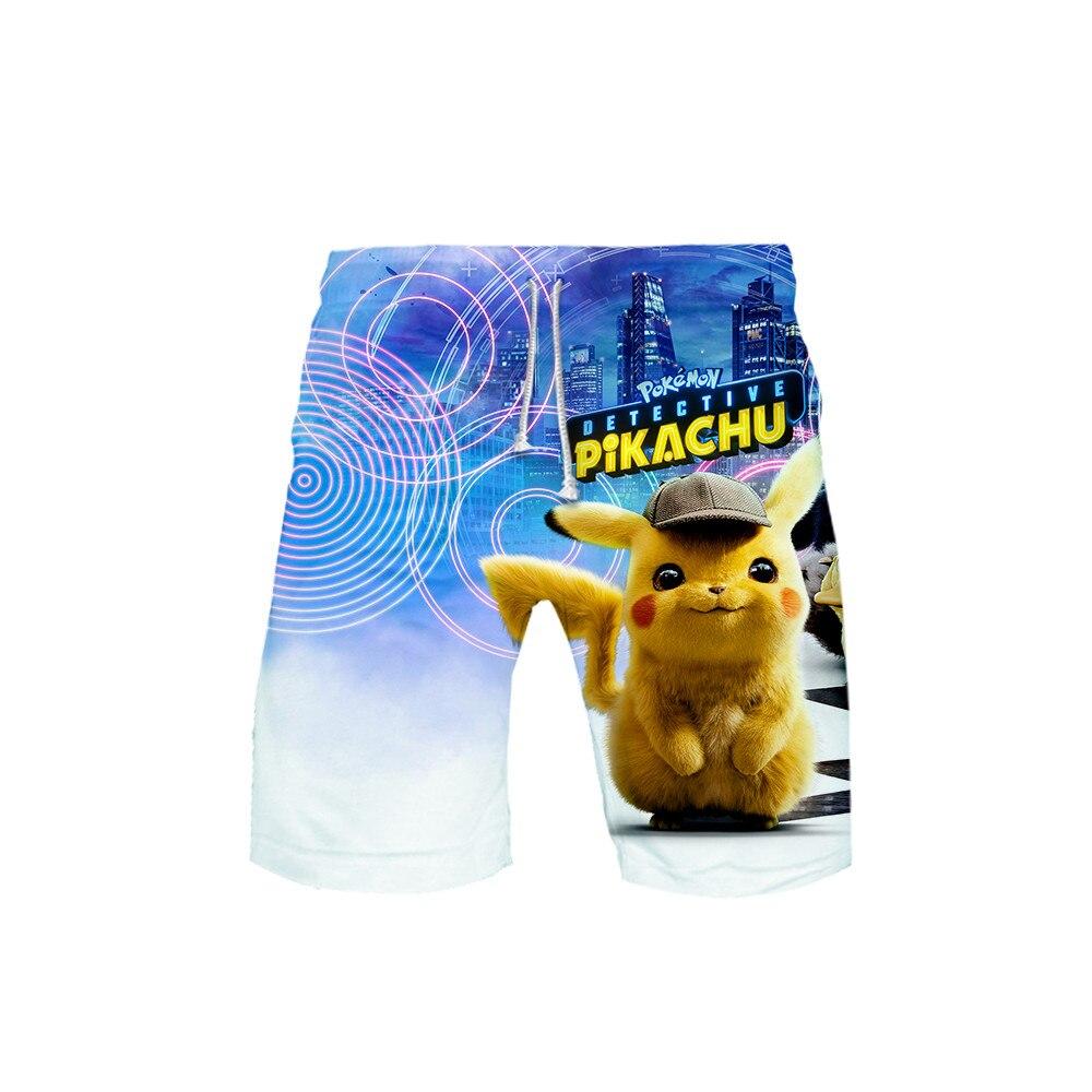 Pokemon Pikachu Beach Shorts Men Bottoms Anti-UV Shorts 3d Print Swimming SurfinMg Shorts Summer Draw String Elastic Waist Short