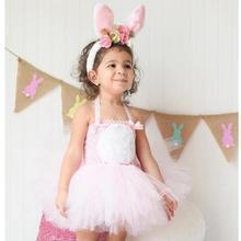 Милый костюм кролика на Пасху розовое платье-пачка принцессы для девочек праздничные платья повязка на голову с ушками маскарадные костюмы на Хэллоуин
