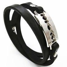 Blade Multilayer Wristband Black Handmade Chain Link Fashion Cuff Bangle Leather Men