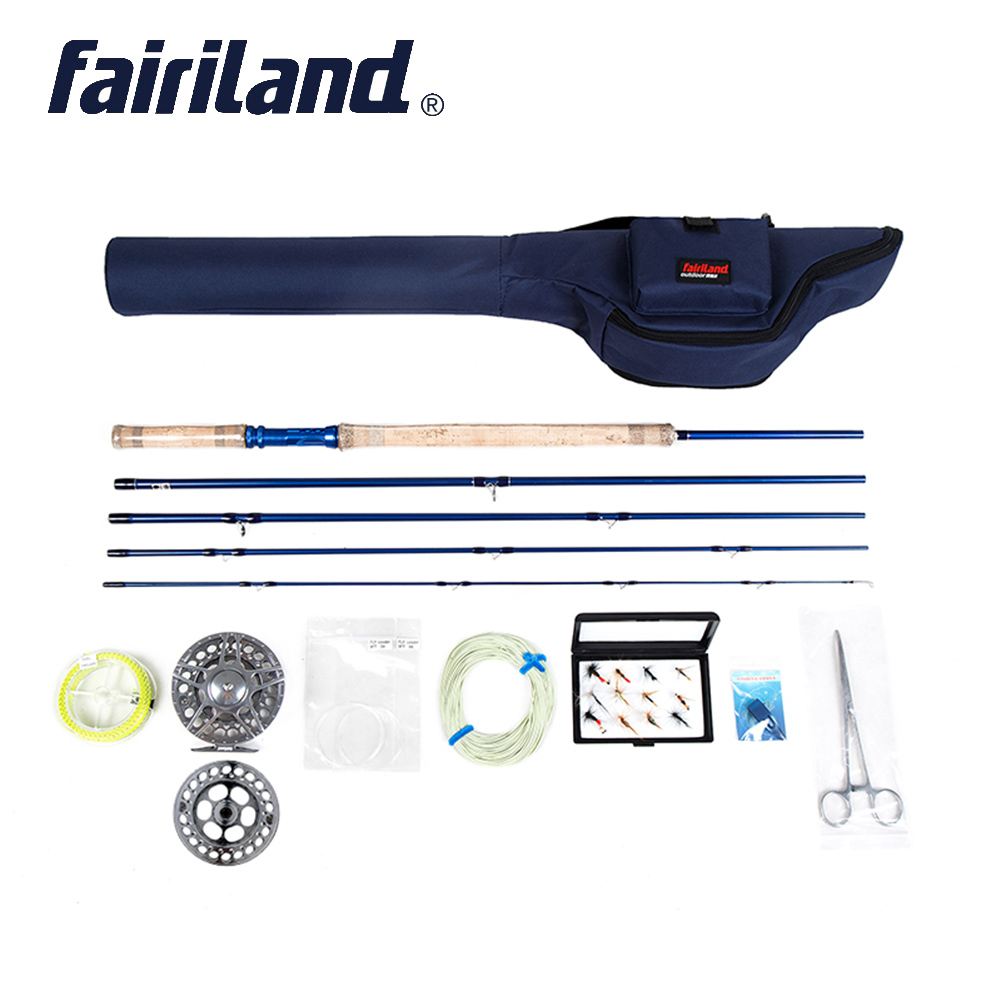 Portable Fly Fishing rod combo 6/7, 7/8, 8/9 5 sections fly rod, Large Arbor fly reel Lures Set blue case fly set rod bag