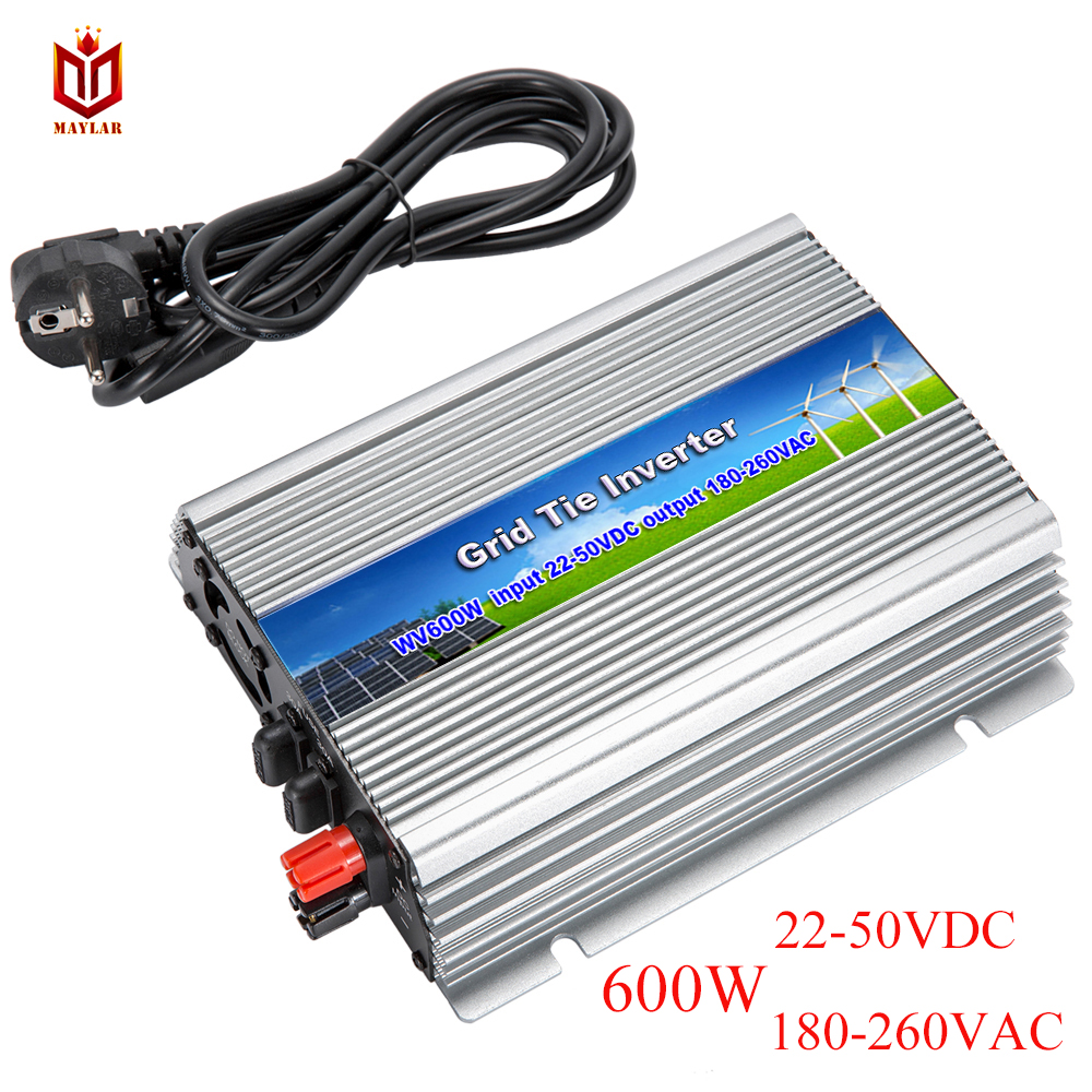 MAYLAR@ 22-50VDC,600W On Grid Pure Sine Wave Power Inverter with MPPT Function,Output 220V/230V/240VAC,50Hz/60Hz solar power on grid tie mini 300w inverter with mppt funciton dc 10 8 30v input to ac output no extra shipping fee