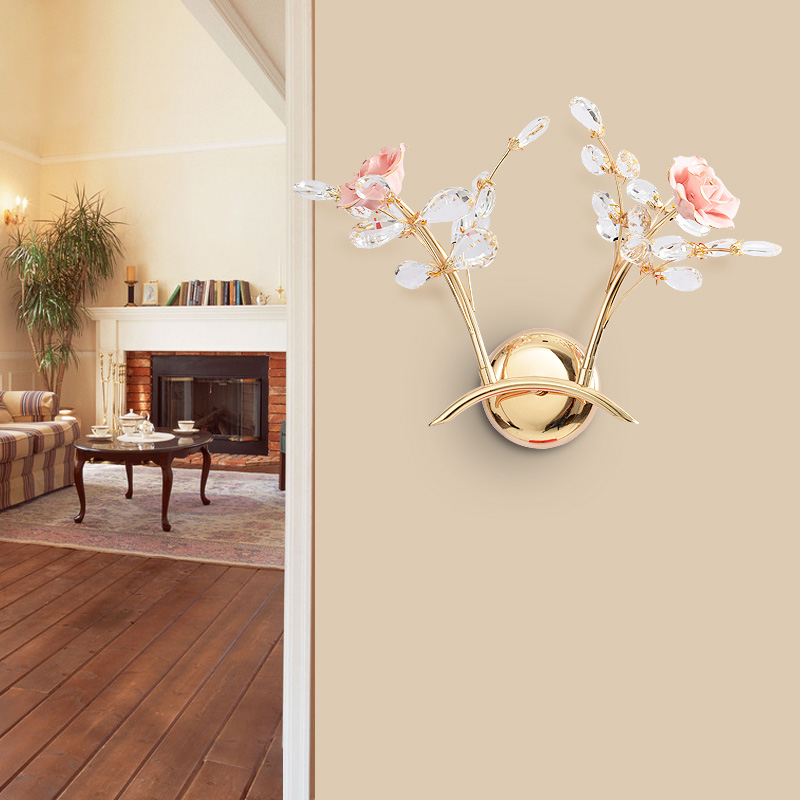 European crystal LED Crystal bedside lamp living room Pastoral creative bedroom Corridor study lamp