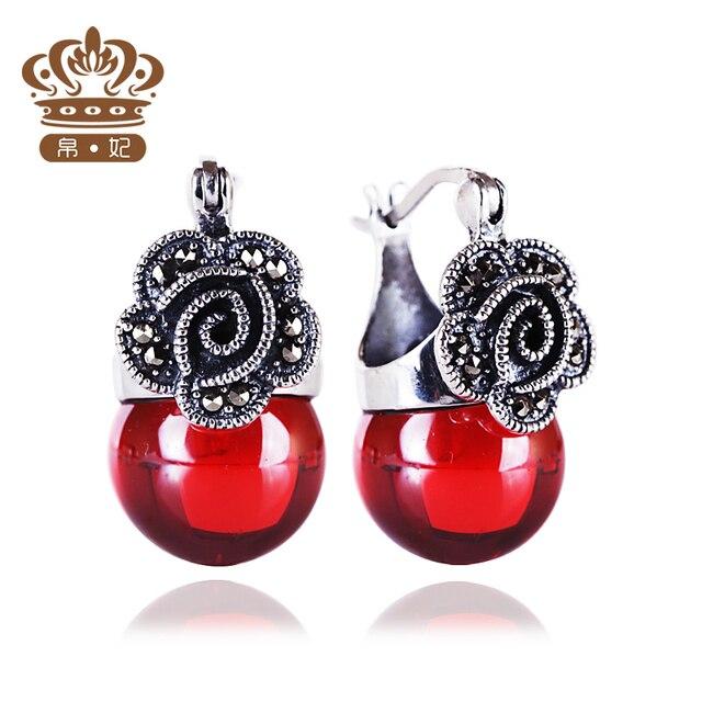 Принцесса Стерлингового Серебра 925 Винтаж Природные полудрагоценные камни Серьги Гранат красный классический женщины ювелирные изделия подруга подарок
