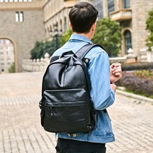 Preppy Style Leather School Backpack