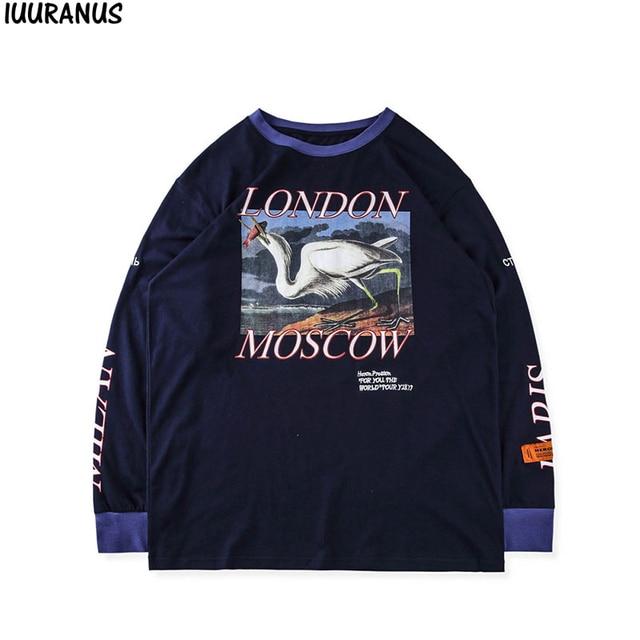 30133585efc Heron Престон футболка японского журавля печати heron Престон одежда с длинным  рукавом Футболки уличная London в