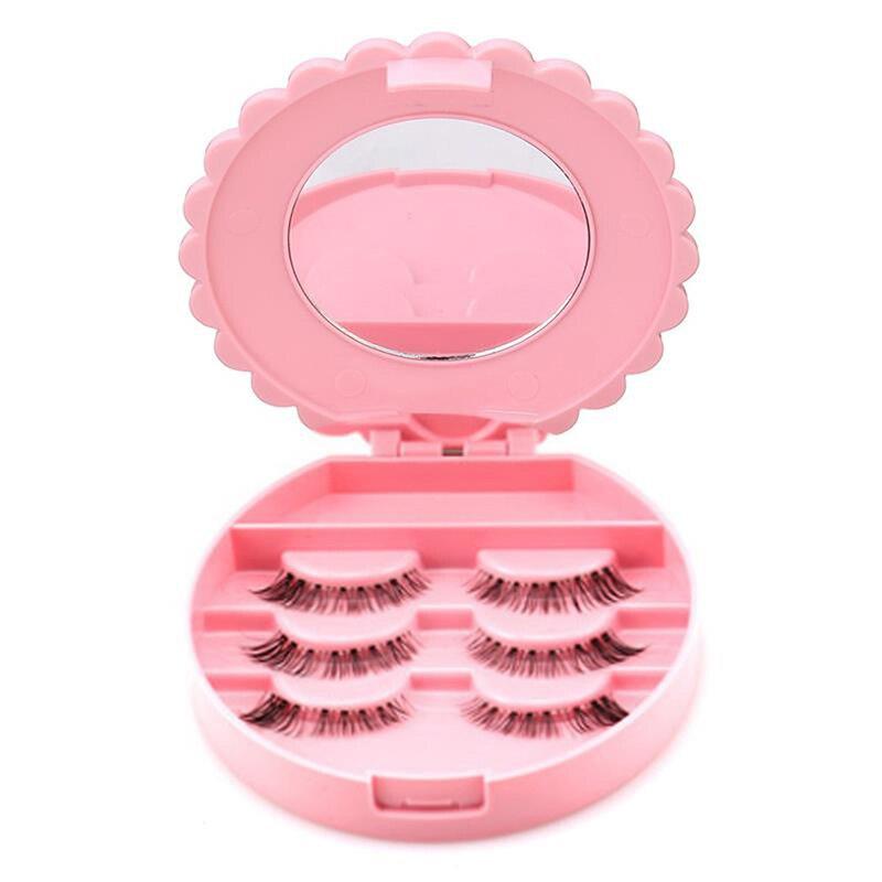 False Eyelash Storage Box Makeup Tools With Mirror Case Organizer Bowknot Portable Beauty Cosmetics Plastic Box