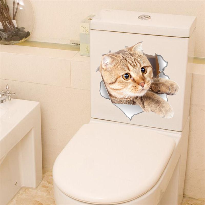 Cat Vivid 3D Smashed Wall Sticker Bathroom Toilet Kicthen Funny Animals Decor Poster PVC