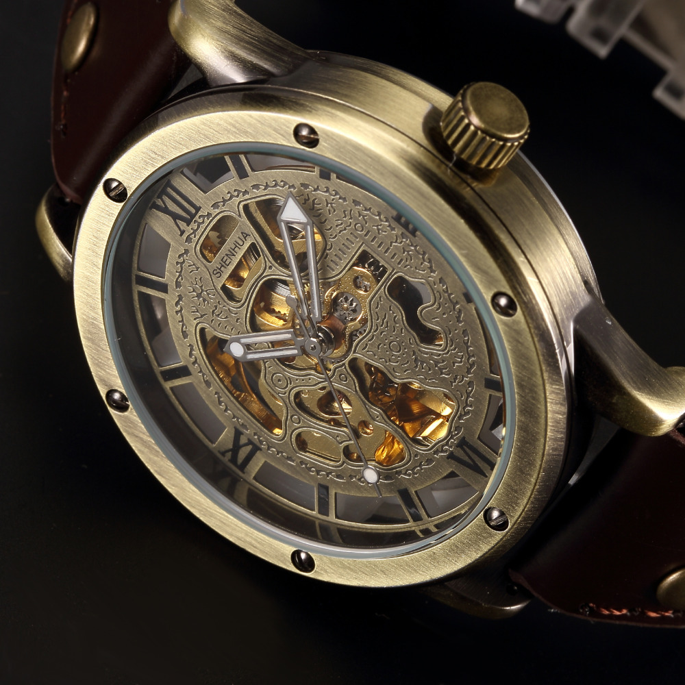 popular antique wrist watches for men buy cheap antique wrist vintage bronze automatic watches men skeleton brown leather strap mechanical male clock relogio masculino mens wrist