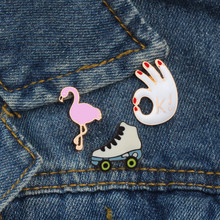 3 style fashion women brooch cute pink bird OK gesture skates icon badge denim jackets hat skirt enamel pin kids jewelry gift(China)