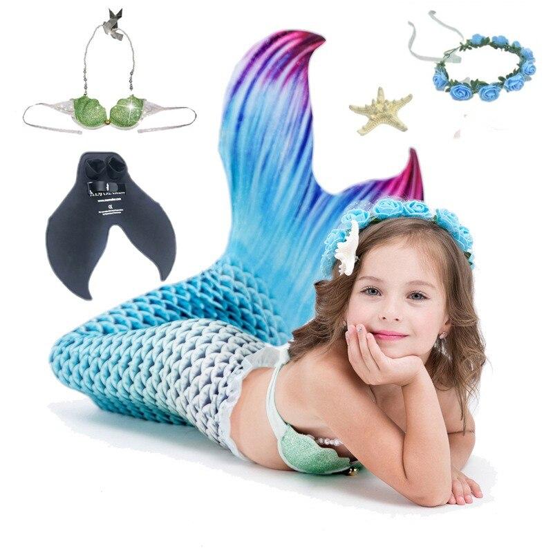 5 pcs/ensemble Enfants Enfants Sirène Queues Pour Nager avec Monopalme Baignade Enfants Cosplay Costume Sirène Maillot de Bain Queue Costume