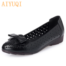 AIYUQI 2021 Summer Ladies Sandals Genuine Leather Woman Flats Hole Shoes Slip on Female Loafers Lady Boat Shoe Bowknot Shoes PU