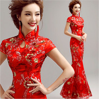 Chinese Traditional Dress Women's Satin Red Long Cheongsam dress Qipao Clothings embroidery Flower L XL XXL XXXL evening dresses