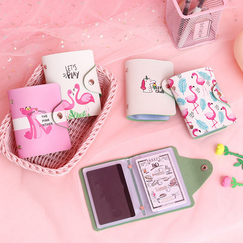 Kawaii Cartoon Flamingo Card ID Holders Travel Small Bank Bus Credit Card Holder Girl Wallet Chain Case Keyring Key Pink Women