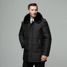 ブランドメンズ冬のジャケットロシアロングコート帽子毛皮の襟厚い防風防水90% 白アヒルダウンジャケット男性 30度