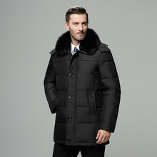 Brand Mens Winter Jacket Russia Long Coat Hat Fur Collar Thick Windproof Waterproof 90% White Duck Down Jacket Men  30 Degree