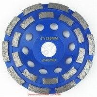 125mm Diamond Double Row Cup Wheel For Granite Hard Material Diameter 4 Grinding Wheel Bore 22