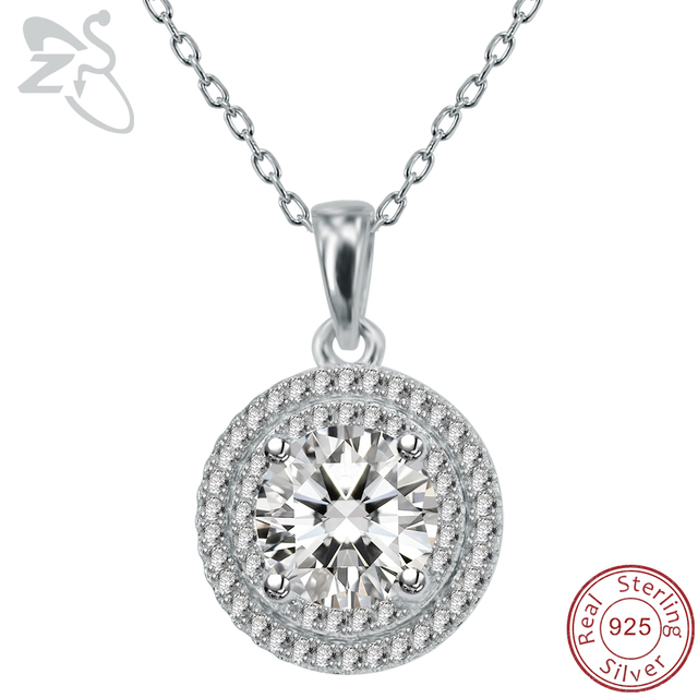 100 real 925 sterling silver pendant necklace prong set round aaa 100 real 925 sterling silver pendant necklace prong set round aaa cubic zirconia pendant necklace aloadofball Images