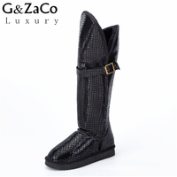 New Winter Women Boots Knee High Snow Boots Cowhide Genuine Leather Long Snow Boots Suede Flat