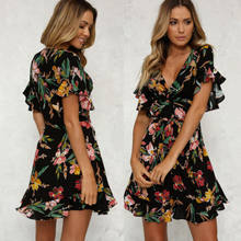 arrival Women BOHO Floral Print Beach Dress 2018 New Summer Lady Evening Party Short Sleeve V neck Mini Dress(China)