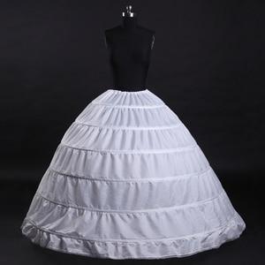 Image 1 - 6 Hoops White Petticoats Bustle Ball Gown Wedding Dress Underskirt Bridal Crinolines