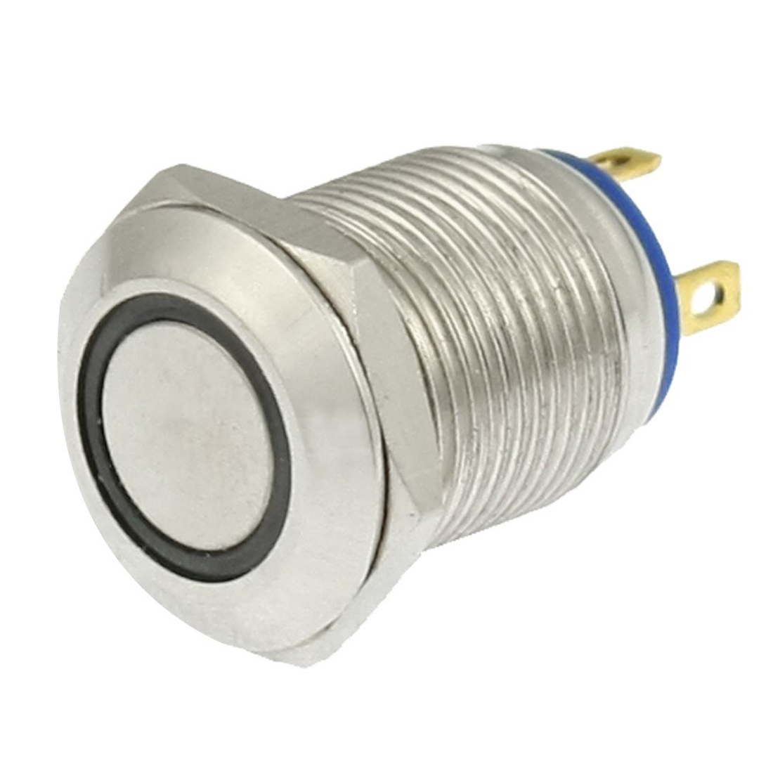 MYLB-Angel Eye Blue LED Light 3V 12mm Stainless Steel Momentary Push Button Switch NO