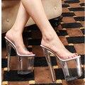 Новые Прибытия Летняя Мода 20 см Высокие Каблуки Сексуальные Женские Туфли 10 см Transpraent Туфли На Платформе 35-44 Большой размер Женщин Сандалии