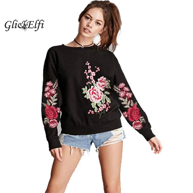 2017 Rose Embroidery Sweatshirt Women Autumn Winter Roupas Feminina Mew  Fashion Long-sleeved Pullovers Oversized