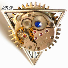 steampunk gothic punk hip hop rock mechanical watch part movement Deathly Hallows open one finger ring men women vintage jewelry