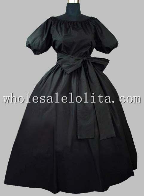 Готическое черное хлопчатобумажное викторианское платье эпохи со съемным воротником - Цвет: Черный