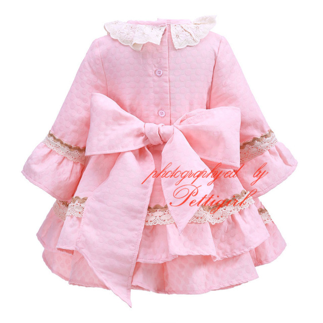 Pink Autumn Girls Dress With Bow