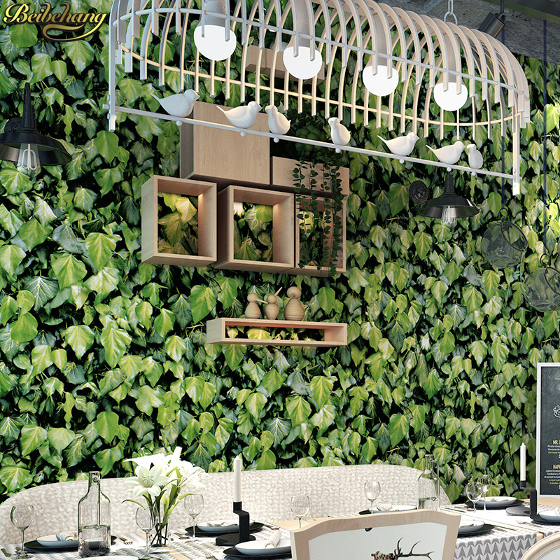 beibehang Restaurant Restaurant Fast Food Restaurant Snack Decoration Vintage Creeper 3d Green Leaf Background Wallpaper bob lolita cosplay charming capless brown short natural straight full bang synthetic wig for women