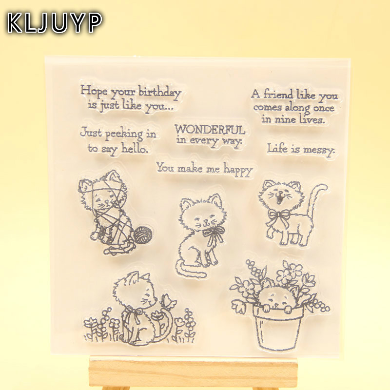 KLJUYP Pretty Kitty Clear Stamps Scrapbook Paper Craft Clear stamp scrapbooking 470