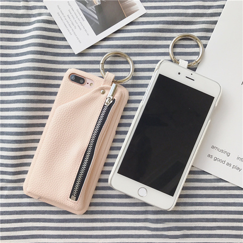 Fashion PU Leather Case with Zipper Pocket for iPhone X 7 8 Plus 6 6s plus Soft Wallet Case with Ring Holder for iPhone 7 8 6 6s in Fitted Cases from Cellphones Telecommunications