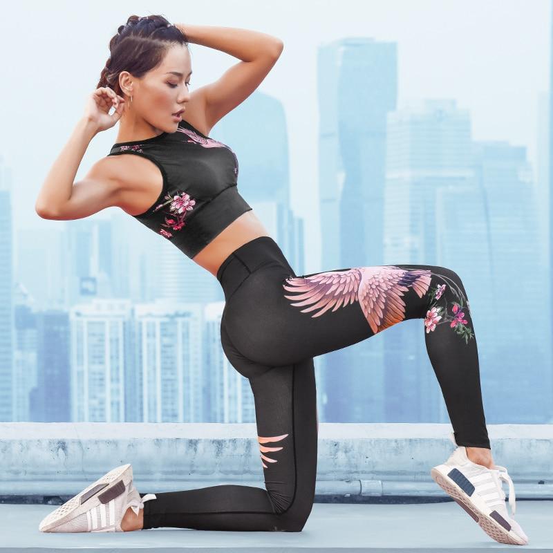 El diseño de la grúa calidad de 2 unidades de Yoga las mujeres Bra + Pantalones largos Sportsuite Fitness deporte traje de ropa deportiva para mujeres gimnasio