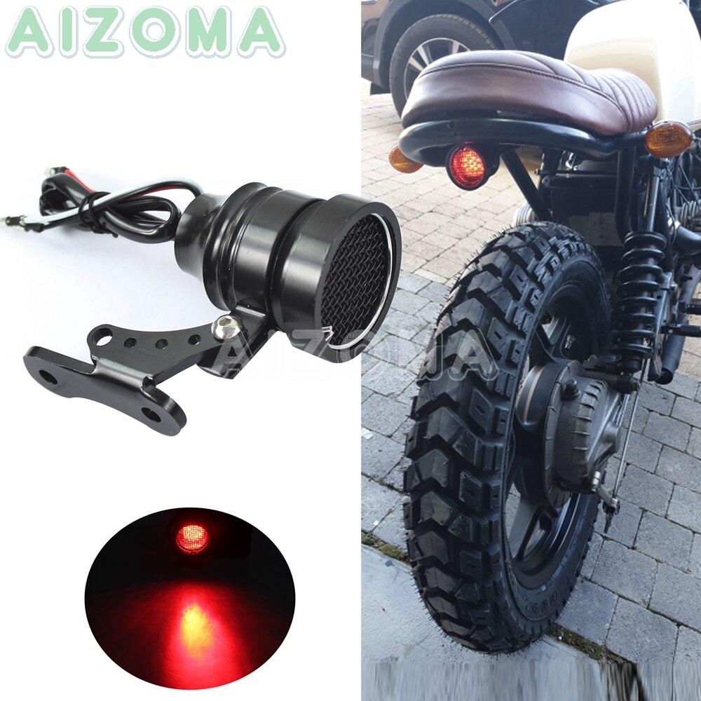 Motorcycle Brat Style Taillight Black 12V LED Custom Mini Fender Mount Brake Rear Tail Lights For Cafe Racer Bobber Parking Lamp